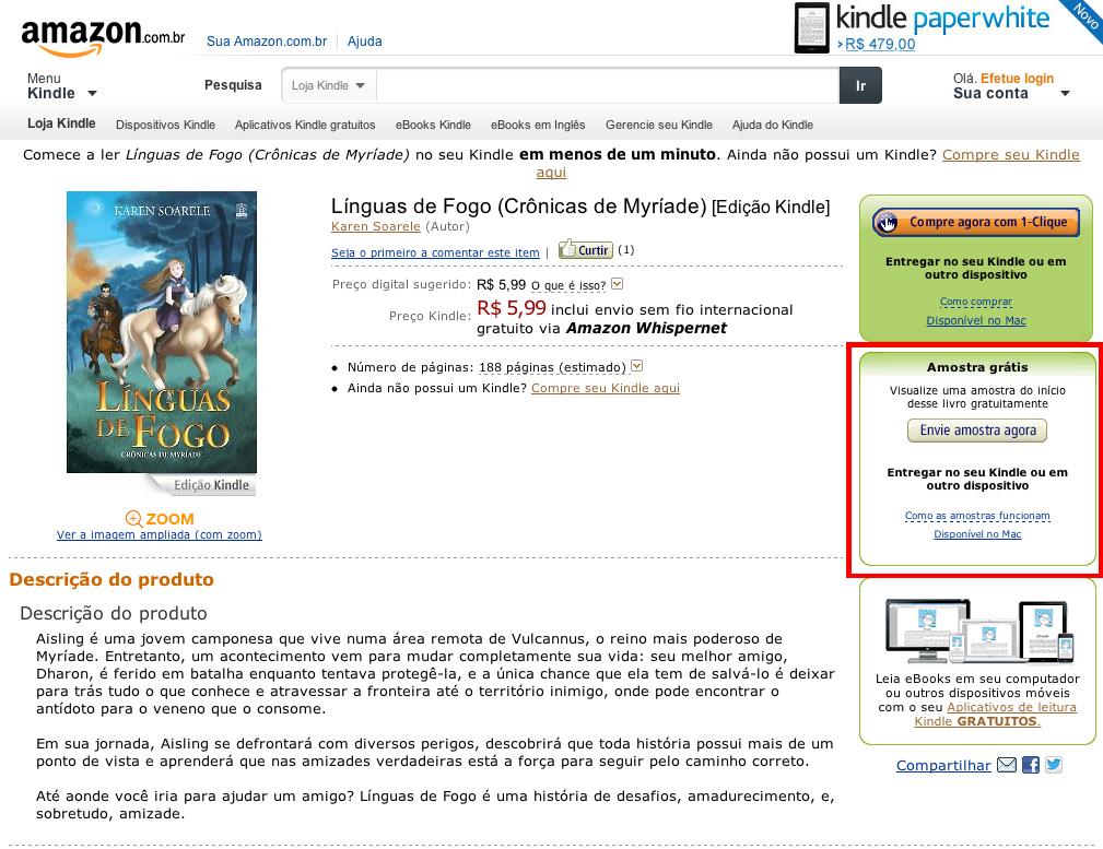 Voltando ao site da Amazon. Agora você tem a opção de ler as primeiras páginas do livro ANTES de comprar!